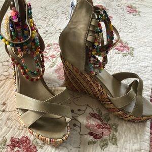 Shoes - Multi colored beaded wedge sandels